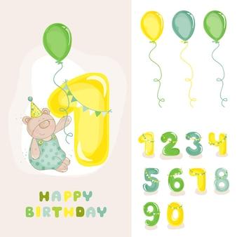 数字の招待状と赤ちゃんクマの誕生日カード
