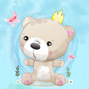 Baby bear cute character painted with watercolor