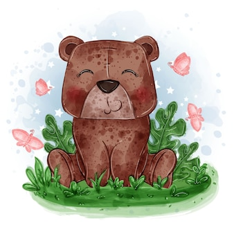 Baby bear cute illustration sit down on the grass with butterfly