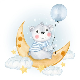 Baby bear holding balloon on moon clouds