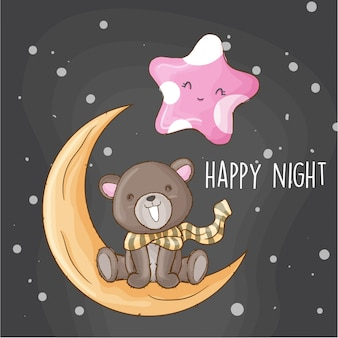 Baby bear on the moon hand drawn animal