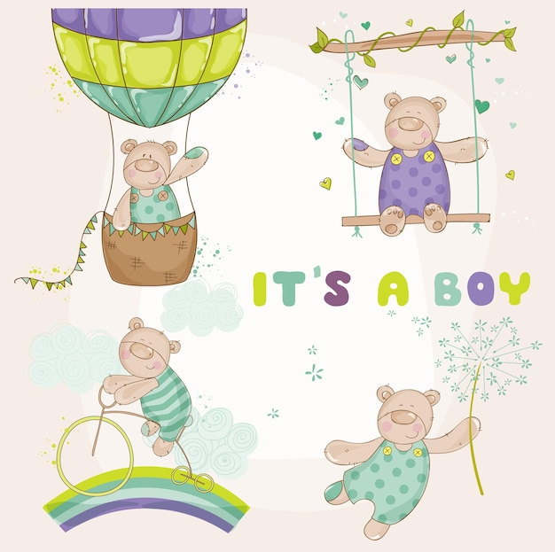 Baby bear set  baby shower or arrival card