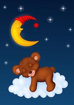 Baby bear sleeping on the cloud