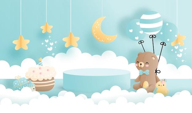 제품 전시용 스탠드가 있는 아기 곰, 원형 연단 전시.