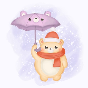 Baby bear with umbrella illustration for nursery decoration