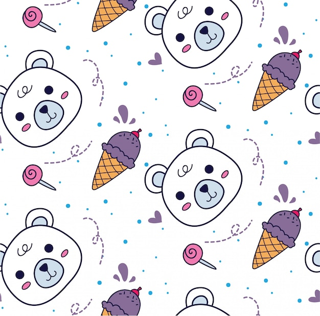 Baby bedding seamless background with bear and ice cream