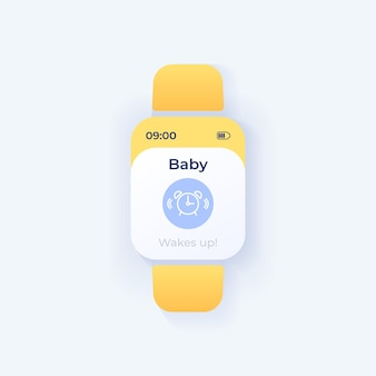 Baby bedtime end smartwatch interface vector template. mobile app notification night mode design. childcare notification message screen. parenthood help. flat ui for application. smart watch display