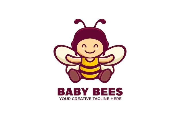 아기 꿀벌 만화 마스코트 로고 템플릿