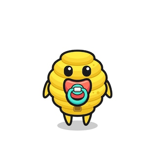 Baby bee hive cartoon character with pacifier , cute design