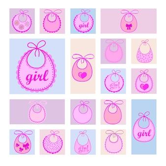 Baby bib for girl in vector eps
