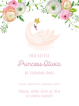 아름다운 백조와 꽃, 도착 알림, 벡터 인사말이 있는 아기 생일 초대 카드