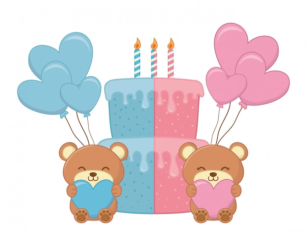 Baby birthday party elements vector illustration