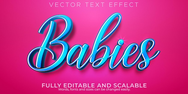 Baby birthday text effect, editable wedding and soft text style