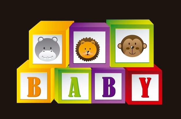 Детские блоки с животными и буквы векторные иллюстрации