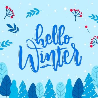 Baby blue background with hello winter lettering