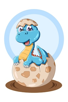 A baby blue dinosaur on the egg animal illustration