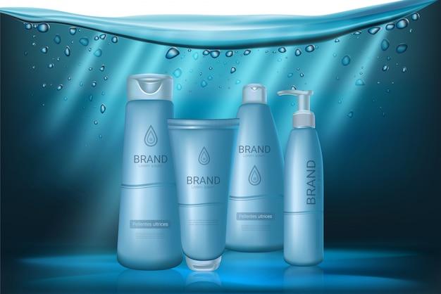 Baby blue realistic cosmetics bottles set.