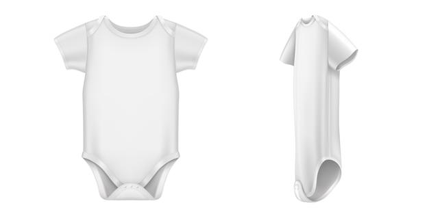 ベビーボディスーツ、半袖の正面図と側面図の白い幼児用ロンパース。子供のための空白の綿の服の現実的なベクトル、分離された新生児のボディスーツ
