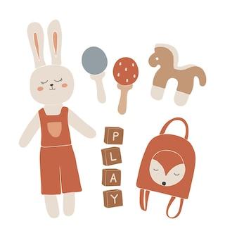 赤ちゃん自由奔放に生きるおもちゃ、抽象的な自由奔放に生きるおもちゃ、子供のためのかわいい最小限のおもちゃ、おもちゃの女の子、おもちゃセット、子供のための木の要素