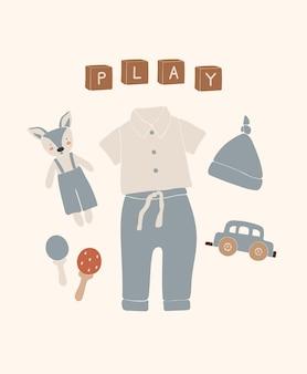 赤ちゃん自由奔放に生きるおもちゃや服、抽象的なおもちゃの男の子。