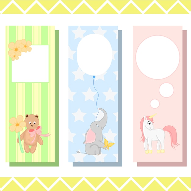 Baby bookmarks with cute animals, childish vector graphics