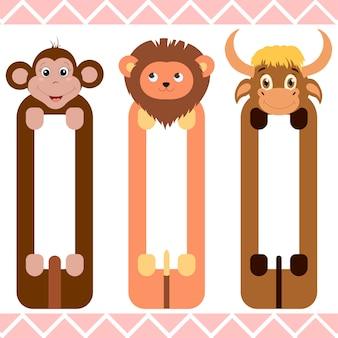 Детские закладки с милыми животными, векторная графика