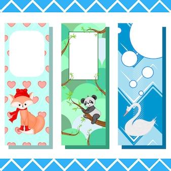 Детские закладки с милыми животными, векторная графика.