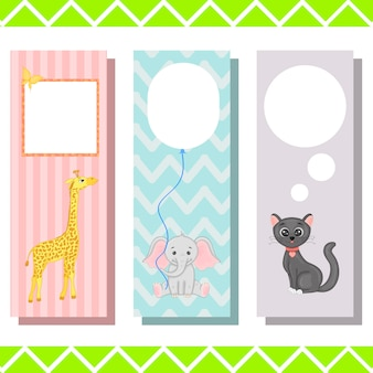 Baby bookmarks with cute animals, vector graphics