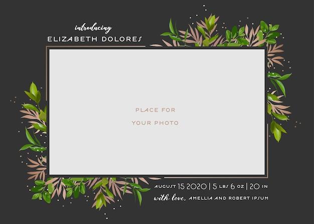 花の要素を持つ赤ちゃん生まれのグリーティングカード。花とベビーシャワーのテンプレートフォトフレーム。生まれたばかりの子供、結婚式の招待状花輪、葉で日付カードを保存します。ベクトルイラスト