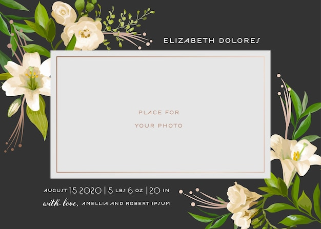 花の要素を持つ赤ちゃん生まれのグリーティングカード。ユリの花とベビーシャワーのテンプレートフォトフレーム。生まれたばかりの子供、結婚式の招待状花輪、葉で日付カードを保存します。ベクトルイラスト
