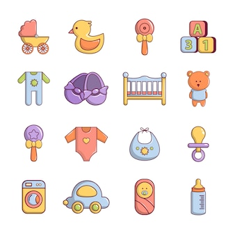 Baby born icons set