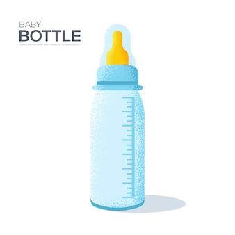 白い背景の上の哺乳瓶。アートグレインテクスチャスタイル