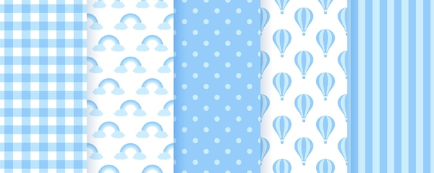 ベビーボウパステル柄。青いシームレスな背景。ベクトルイラスト。