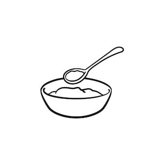 아기 그릇과 숟가락 손으로 그린 개요 낙서 아이콘. 흰색 배경에 격리된 인쇄, 웹, 모바일 및 인포그래픽을 위한 개념 벡터 스케치 삽화를 아기가 먹일 때 음식과 숟가락이 있는 그릇.