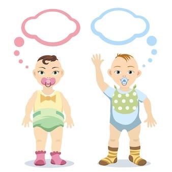 白い背景で隔離の吹き出しを持つ男の子と女の赤ちゃん。