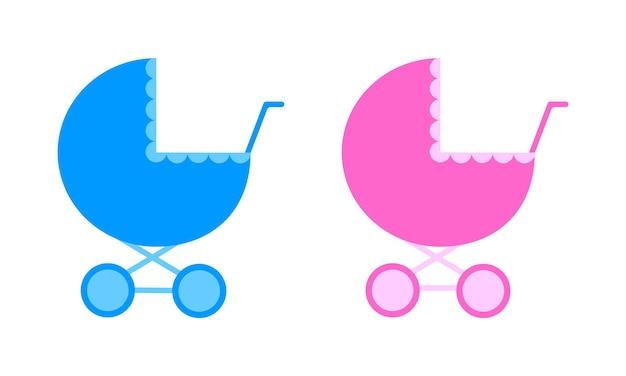 베이비 샤워 또는 성별 공개 파티를 위한 아기 소년과 소녀 유모차 소품