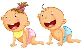 Baby boy and girl with big smile