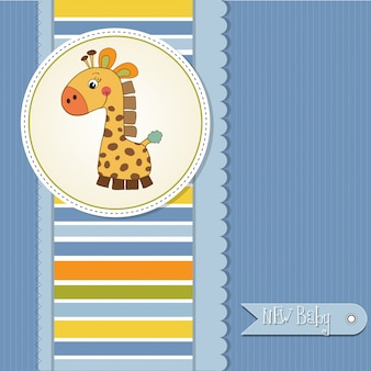 baby boy announcement card with giraffe