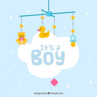 Baby boy background in hand drawn style