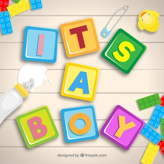 Baby boy background with toys in flat style