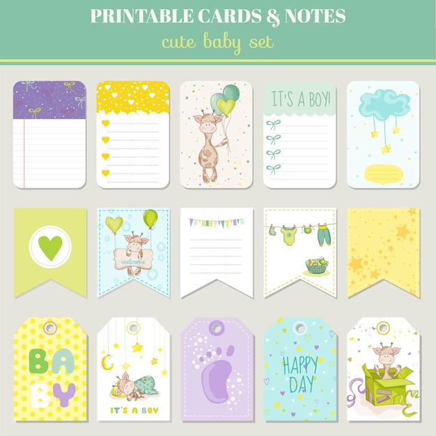 Baby boy card set - with cute giraffe - for birthday, baby shower, party, design
