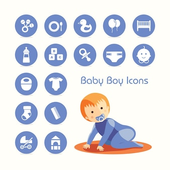Baby boy crawling and icons set