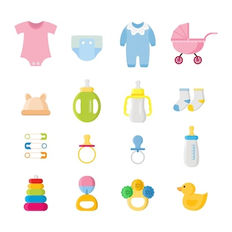 Baby boy and girl equipment object elements illustration