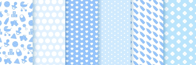Baby boy girl pattern. baby shower seamless background. blue сhildish textile print. patterns for baby birthday celebrations, kids invitation