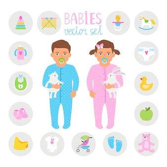 Baby boy and girl set