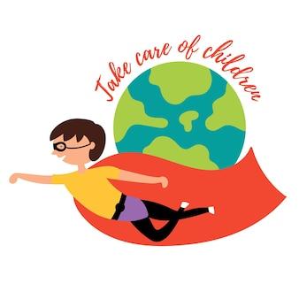 아기 소년 영웅은 지구 주위를 날아 모든 어린이를 보호합니다.