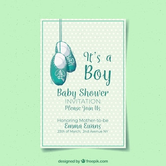 Baby boy invitation in hand drawn style