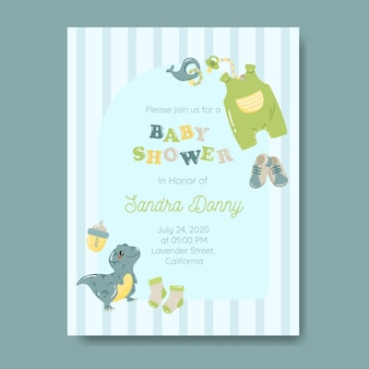 Baby boy invitation template with baby things in blue color
