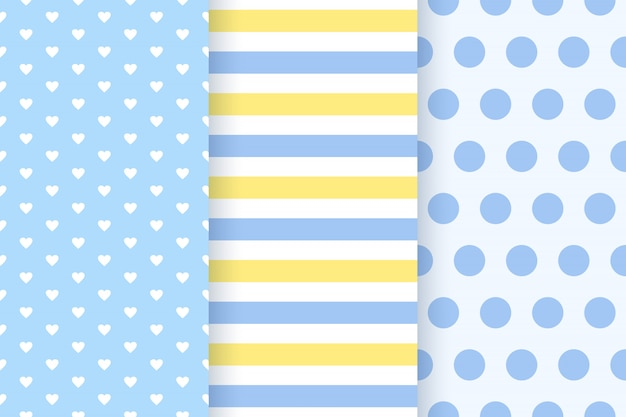 Baby boy pattern seamless. baby shower backgrounds. . set blue pastel patterns for invitation, invite templates, cards, birth party, scrapbook in flat . cute illustration.