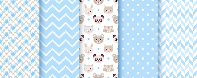 Baby boy pattern. seamless backgrounds. blue kids textures with animals, polka dot, zig zag and plaid